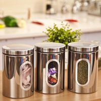 bamboo window coverings - 3pcs Stainless Steel Window Canister Tea Coffee Sugar Jar Storage Silver New Promotion x cm Mail