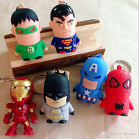 Wholesale Copper Led Flashlight - 2016 Batman Spiderman LED Light 3D Cartoon Keychain The Avengers Superheroe Minions Inside out Flashlight Torch Sound ToyKey Chain Ring