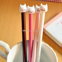 ballpoint pen ink - Fashion Stationery Ballpoint Pen Cute Cat Design Gel Pen Black Ink Pad mm Cartoon Cat Head Gel Pen Korean Style Pen ZJ S52