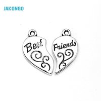 best bead crafts - 10sets Tibetan Silver Plated Best Friends Heart Charms Pendants for Bracelet Necklace Jewelry Making DIY Handmade Craft x12mm