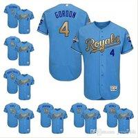 Wholesale Alex Gordon Jersey KC Royals Alex Gordon Golden Font Light Blue Stitched jersey size extra small XS s xl Top Items