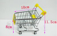 Wholesale Fashion Mini Supermarket Hand Trolleys Mini Shopping Cart Desktop Decoration Storage Phone Holder Baby Toy New
