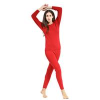 al por mayor pijama de terciopelo-Mayor-Mujeres caliente, además de terciopelo interiores ropa térmica Long Johns pijamas Set envío gratuito