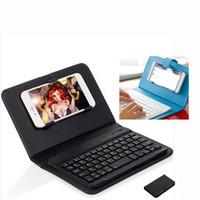 Cubierta de la caja del teclado de Bluetooth para el teléfono del androide del iPhone Caja de cuero sin hilos ultrafina del cuero del teclado teléfono móvil universal