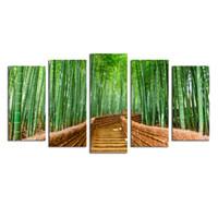bamboo wall art wood - Bamboo Path Canvas Prints Contemporary Art Modern Wall Decor Panel Wood Mounted Giclee Canvas Wall Art Frameless Artwork for Living Room