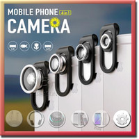 Wholesale 4 In Clip Fish Eye Lens Macro Wide Angle Universal Smartphone Camera Lens For iPhone Samsung iPad HTC