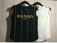 Wholesale 2016 luxury women s ladies females balmain paris stripes lion head gold metal buttons sleeveless vest tops tee shirts