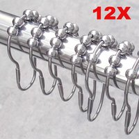 Wholesale 12pcs pack Set Package Polished Satin Nickel Roller Ball Shower Curtain Rings Hooks PTSP