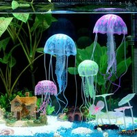 Wholesale 6 Colors Optional cm Artificial Glowing Jellyfish with Sucker Fish Tank Aquarium Decoration Aquarium Ornaments Accessories