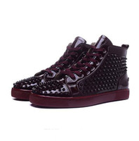 1: 1 exemplaire chaussures en gros winered Femmes Hommes cuir verni Avec Spikes High Top Red causales Bottom Shoes Design Chaussures de luxe Loisirs 36-4