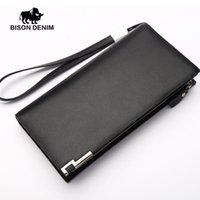authentic designer wallets - BISON DENIM Authentic Genuine Leather Men sLong Wallet Clutch Wrist bag Luxury Brand Designer