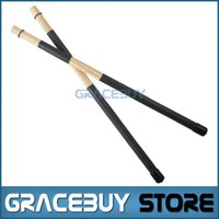 Wholesale Black Drum Sticks Rute Hot Rods Professional Bamboo Drumsticks Rubber handle New