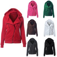 Wholesale Women Hoodies Sweater Coat Autumn And Winter Fashion Hooded Long Sleeved Sweater Multicolor Oblique Zipper Hooded Sweater Y047
