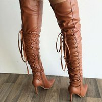 adhesive backed ribbon - Sexy Pointy Stiletto Heel Thigh High Boots Black Leather Winter Fashion Back Strappy Extra Long Boots Plus Size Women Shoes