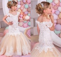 beautiful girls short dresses - 2016 Beautiful Mermaid Flower Girls Dresses For Weddings Off Shoulder Short Sleeve Lace Applique Girl Pageant Dress Back Lace up Party Gowns
