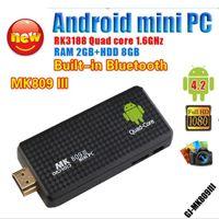 Wholesale New MK809III Tv Box Android Quad Core Smart TV Box Mini PC TV Dongle Stick XBMC DLAN WiFi DC Box