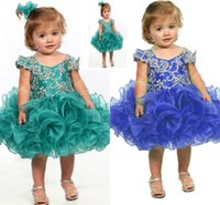 Wholesale 2016 Little Girl Flower Girl Dress Blue Baby Girl Infant Toddler Birthday Pageant Dress Short Length Ruffled Fashion Ball Gown Tutu HY951