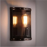 Wholesale Loft Nordic IKEA Iron Net Wall Lamps E27 Edison Industrial Sconce Wall Lighting Rust Colored Bar Cafe Home Decorative Light Gift