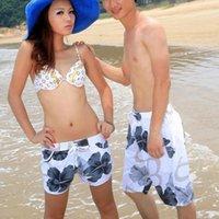 Wholesale Grey Big Flowers Couple Beach Pants Beach Board Shorts L XXL