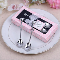 Wholesale 2016 New Creative best selling wedding Favors boutique Birthday Party supply Guest Gift couple coffee spoon piece set