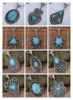 Wholesale Fashion women s DIY European Beads pendant necklace DFMTQN2 hollow Tibetan silver turquoise necklace with chain pieces a mixed style