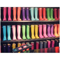 Wholesale 2016 Factory Outlets Ladys Hunter Original Refined Tall Rain Boots Women s Refined Tall Gloss Matte Rain Boots Black Red Size