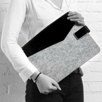 Wholesale Real leather Wool felt Laptop sleeve bag for Macbook Air case for Macbook for Macbook pro case inch notebook bag