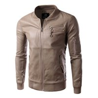 Wholesale Fall Motorcycle Leather Jackets Coats New Arrival Men Casual Fashion Leather Jacket Overcoat Suits Plus Size M0283