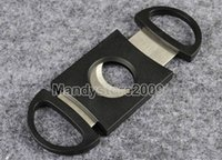 Wholesale Brand New Pocket Cigar Cutter Plastic Stainless Steel two Blades Scissors Cigar Knife Good Gifts