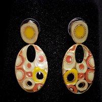 artist drops - drop earrings Bohemia yellow gold plated artist Rihood Jewelry Cloisonne BA