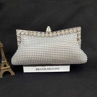 Wholesale New Designer Handbags High Quality Silver Crystal Clutch Evening Bags with Silver Chain Square Wedding Purse Pearl Clutch