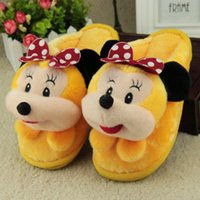 Wholesale 2016 Warm Winter Indoor Slippers for Men Wemen Cute Mouse Cartoon Design Comfortable Plush PVC Sole Anti slip Anti friction Home Furnishing