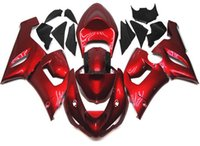 Wholesale 3 Free gifts New ABS Full Fairing Kit Fit For KAWASAKI Ninja ZX6R ZX R R Bodywork set cool red glossy
