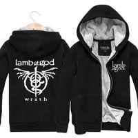 band sweatshirts - Lamb Of God Rock Band Winter Outerwear Sports Cardigan Thickening Plus Velvet Jacket Mens Hoodies And Sweatshirts Fashion