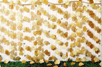 artificial feet - 7 Feet Wired Gold Leaf Garland Silk Artificial Vine for Wedding Party Home Christmas Deroration Office Match Garden Flower