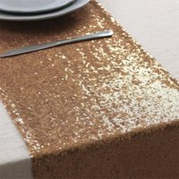Wholesale New Arrival Rose Gold Sequin Table Runners quot X108 quot Wedding Banquet Table Runners DHL