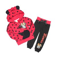 Wholesale Toddler Girls Polka Dot Cartoon Clothing Set Girl minnie mouse Spring Autumn cotton tracksuits kids clothes sports suit
