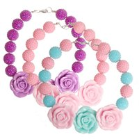 beaded flower necklace - New Fashion Kids Girls Rose Flower Chunky Beads Necklaces Childrens Toddlers Birthday Bubblegum Choker Necklace Jewelry Gift Pink Purple