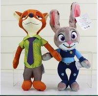 Wholesale 23cm Zootopia Movie Zootopia kids toy Nick Wilde and Judy Hopps Fox Rabbit Stuffed Cartoon Dolls Best Gift Plush Toys EMS