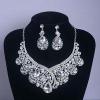 Wholesale Retro Vintage Designer Water Drop Wedding Jewelry Clear Austrian Crystal Rhinestone Earrings Necklace Jewelry Sets