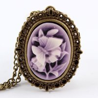 Wholesale New Purple Butterfly Flower Pocket Watch Necklace Pendant Girl Lady Women Xmas Gift P63