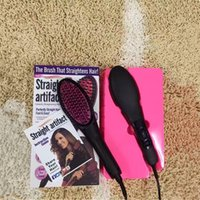 battery coats - 2016 simply straight ceramic electric degital control antiscaled hair straightener brush comb with lcd display DHL Free