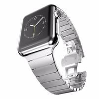 Wholesale Stylish Watch Strap Bracelet Detachable Stainless Steel Women Men Butterfly Clasp Smartwatch Watchband Case For Apple Watch Band mm mm