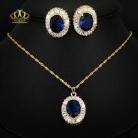 Wholesale Anti allergy layers real K yellow gold plated mm Big Luxury oval blue corundum birthstone synthetic sapphire Jewelry set