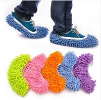 Wholesale One Pair Multifunctional Absorbent Chenille Cleaning Shoe Covers Clean Slippers Lazy Drag Shoe Mop Caps for Floor Cleaning TXT