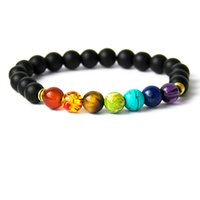 bead bracelets men - Muti color Mens Bracelets Black Lava Chakra Healing Balance Beads Bracelet Women Reiki Prayer Yoga Bracelets Homme Men Jewelry Accessories