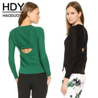 asymmetrical hem sweater - HDY Haoduoyi Woman Fashion Colors V Neck Backless Cut Out Asymmetrical High Low Hem Crop Top Pullover Knitted Sweater