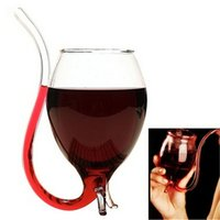 Wholesale 300ml Vampire Devil Red Wine Glass Cup Mug With Built in Drinking Tube Straw