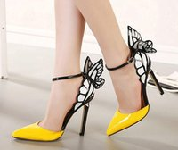 big sandals - Big Size Thin High Heels zapatos mujer Women Pumps cm Butterfly Heels Sandals Sexy Wedding Shoes Party yellow purple black x22wqy