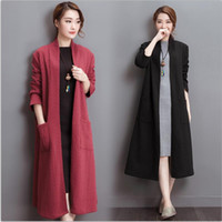 Wholesale 2016 Autumn Winter Cardigan Women clothing Long style Cotton Linen Outerwear Women Thickened Long sleeve trench coats